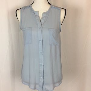 Anthropologie Birdcage Sleeveless Blue Shirt Small